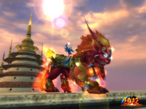 辟火神兽 .龙头,马身,麟脚,形状似狮子,这就是凶猛威武的辟火神兽.